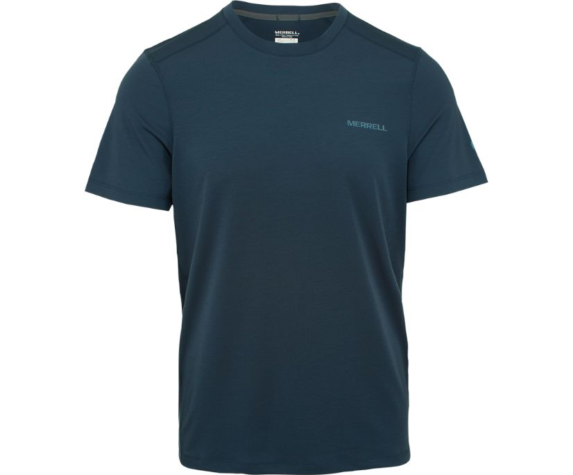 Tencel® Short Sleeve Tee with drirelease® Fabric, Navy Heather, dynamic