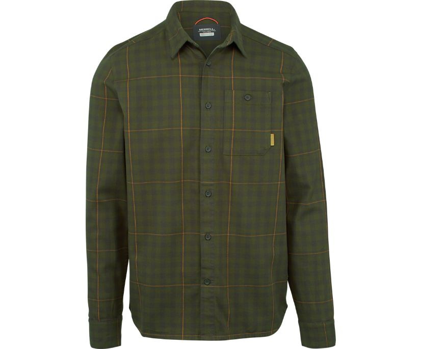 Trailhead Long Sleeve Flannel Shirt, Beluga, dynamic