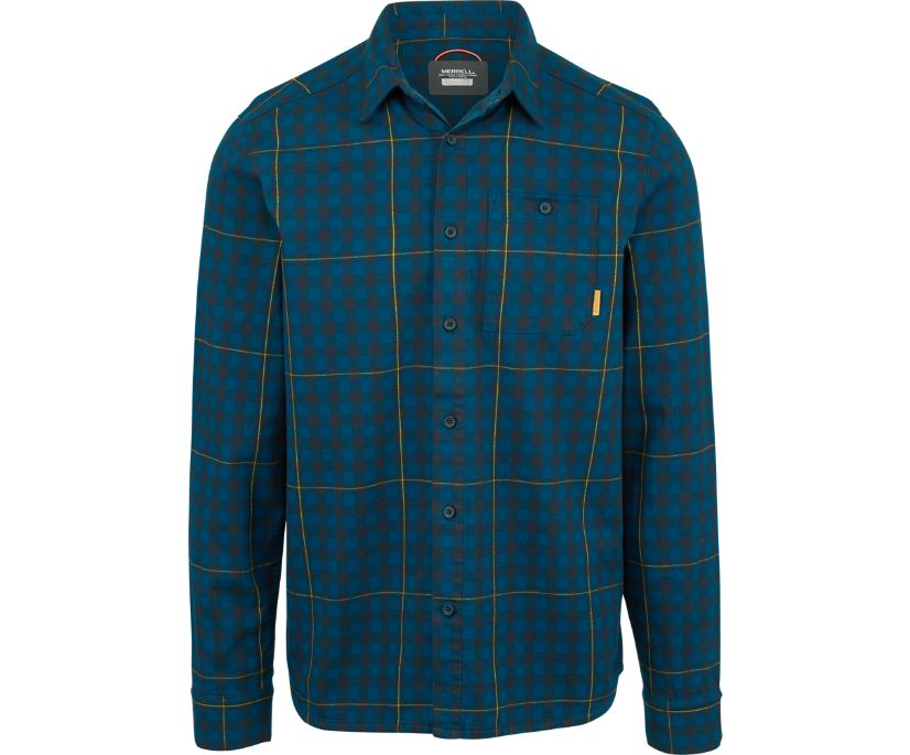 Trailhead Long Sleeve Flannel Shirt, Navy, dynamic