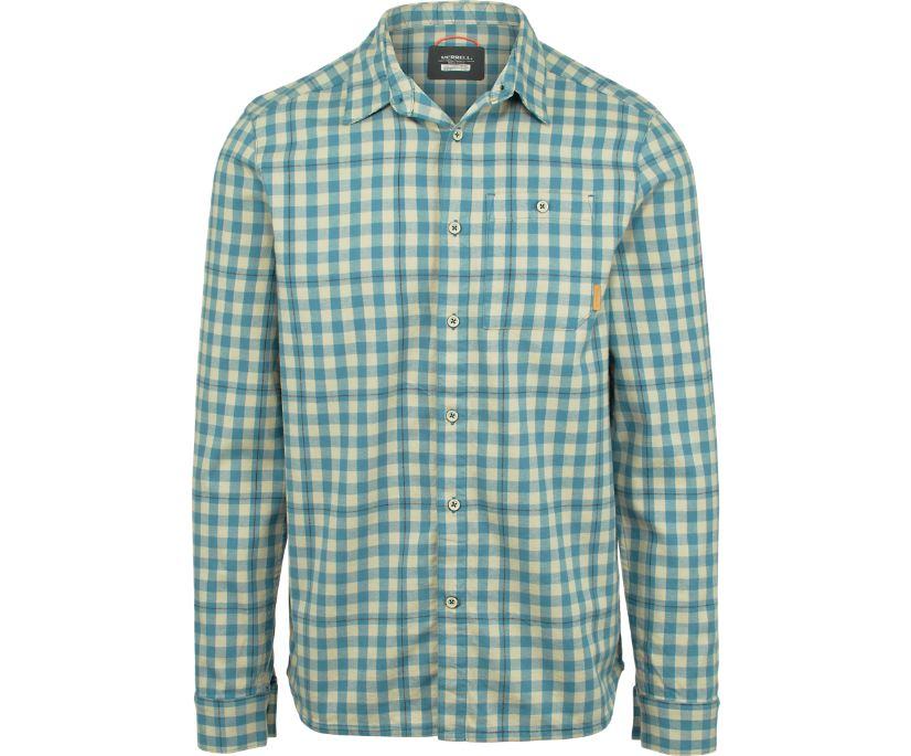 Trailhead Long Sleeve Flannel Shirt, Bluestone, dynamic