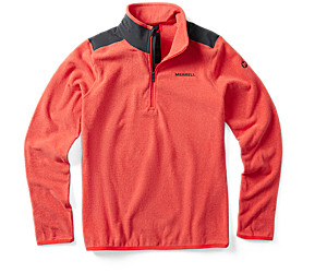 Flux Lightweight Hybrid 1/4 Zip Fleece, Hot Coral Heather, dynamic