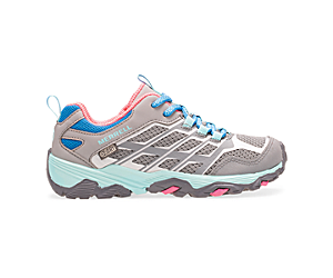 Moab FST Low Waterproof Shoes, Grey/Turq/Pink, dynamic