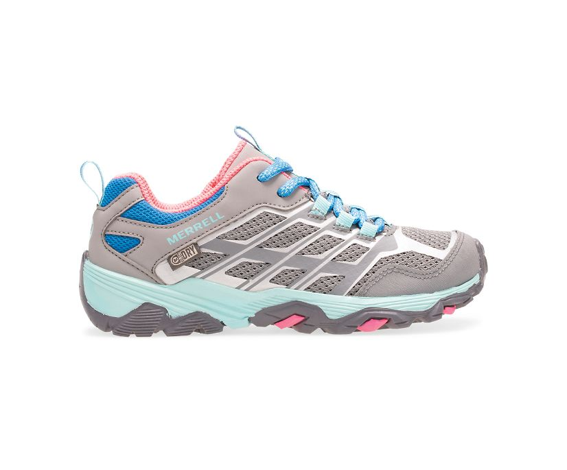 Moab FST Low Waterproof Shoes, Grey/Turq/Pink, dynamic