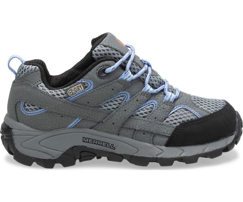 Moab 2 Low Lace Waterproof Sneaker, Grey/Periwinkle, dynamic