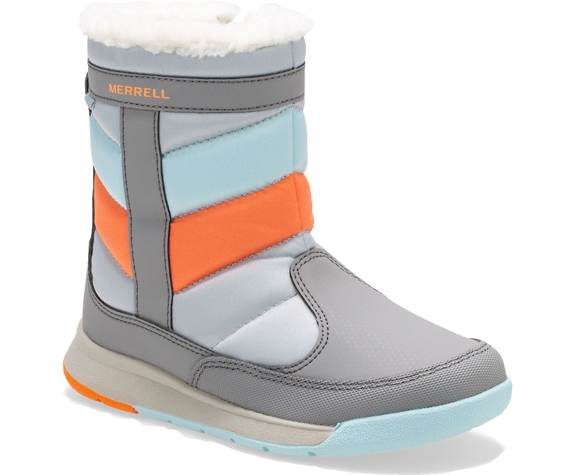 Alpine Puffer Waterproof Boots, Grey/Silver/Turquoise, dynamic