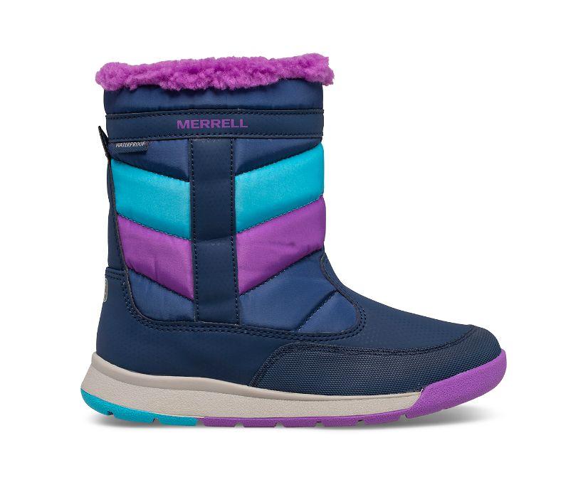 Alpine Puffer Waterproof Boot, Navy/Turq/Purple, dynamic