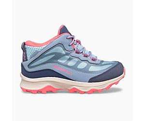Moab Speed Mid Waterproof, Dusty Blue/Coral, dynamic