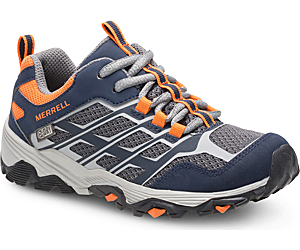 Moab FST Low Waterproof Shoes, Navy/Grey/Orange, dynamic