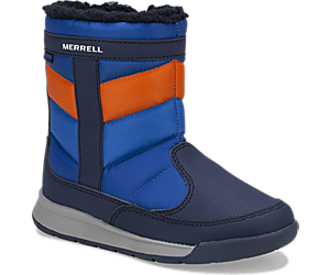 Alpine Puffer Waterproof Boots, Navy/Orange, dynamic