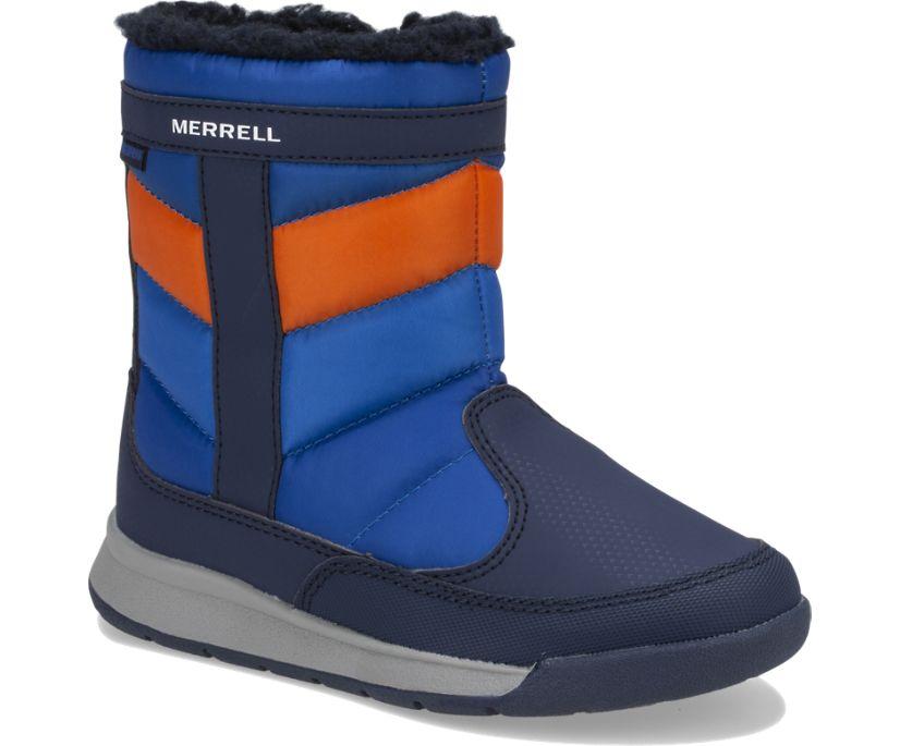 Alpine Puffer Waterproof Boots, Navy/Orange, dynamic