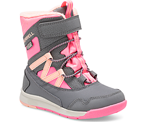 Snow Crush Waterproof Jr. Boot, Grey/Coral, dynamic