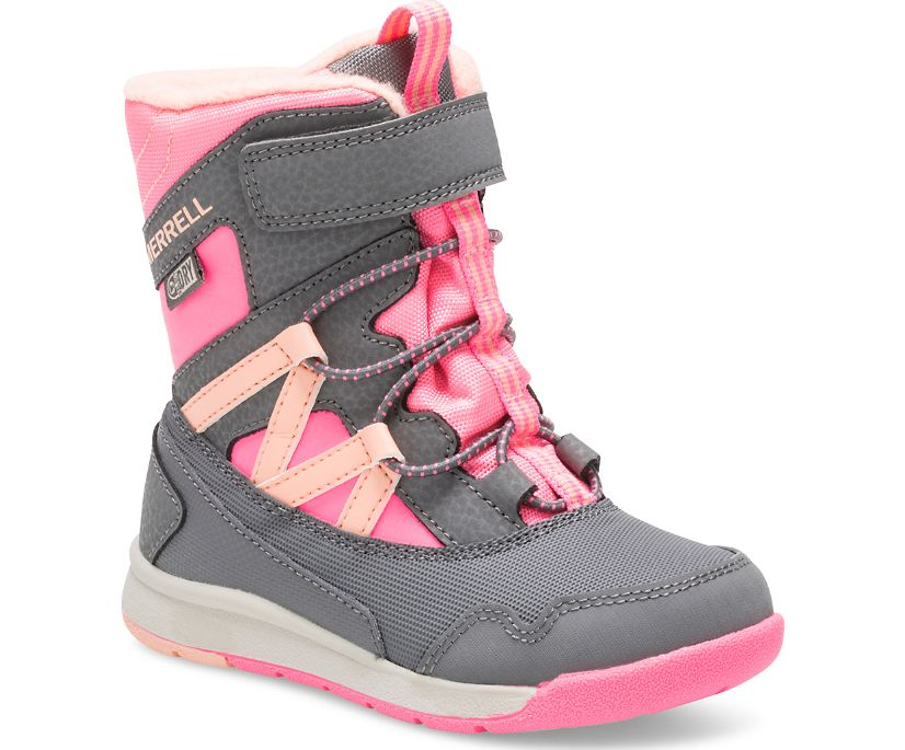 Snow Crush Waterproof Jr. Boot, Grey/Coral, dynamic
