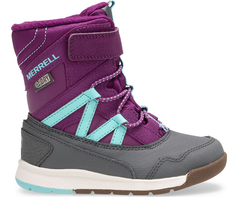 Snow Crush Waterproof Jr. Boot, Purple/Turquoise, dynamic