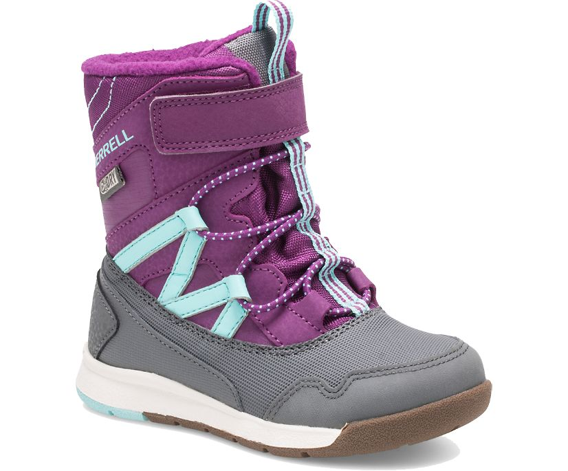 Snow Crush Waterproof Jr. Boot, Purple/Turquoise, dynamic