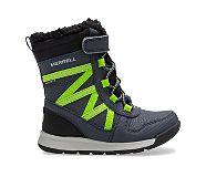 Snow Crush 2.0 Waterproof Jr. Boot, Navy/Lime, dynamic
