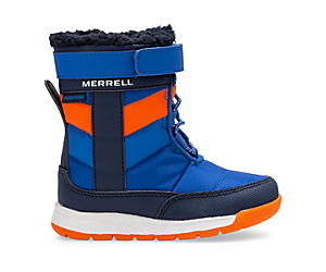 Alpine Puffer Waterproof Jr. Boot, Blue/Orange, dynamic