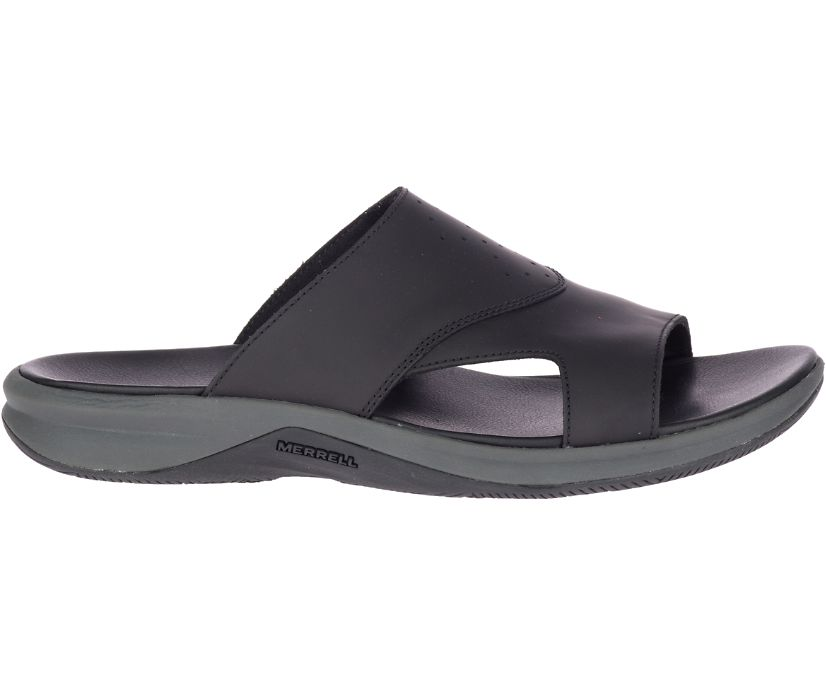 Tideriser Luna Slide Leather Wide Width, Black, dynamic