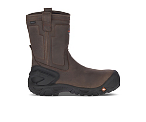 Strongfield Leather Pull On Waterproof Comp Toe Work Boot Wide Width, Espresso, dynamic
