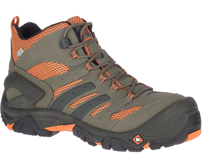 Strongfield Mid Waterproof Comp Toe Work Boot, Dusty Olive, dynamic