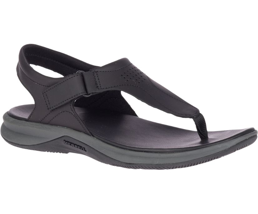 Tideriser Luna T-Strap Leather, Black, dynamic