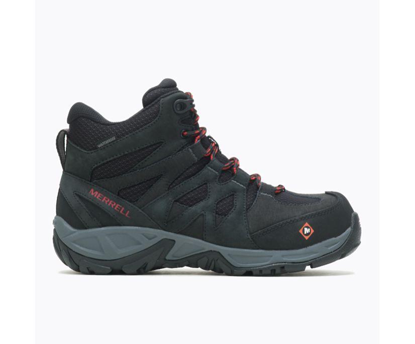 Siren Mid Waterproof Alloy Toe Work Boot, Black, dynamic