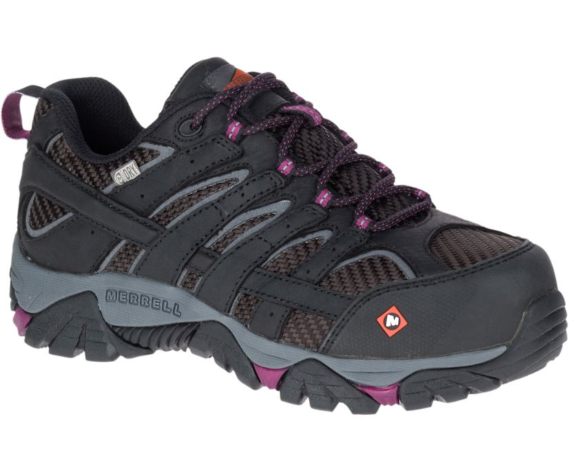 Moab 2 Vent Waterproof Comp Toe Work Shoe, Black, dynamic