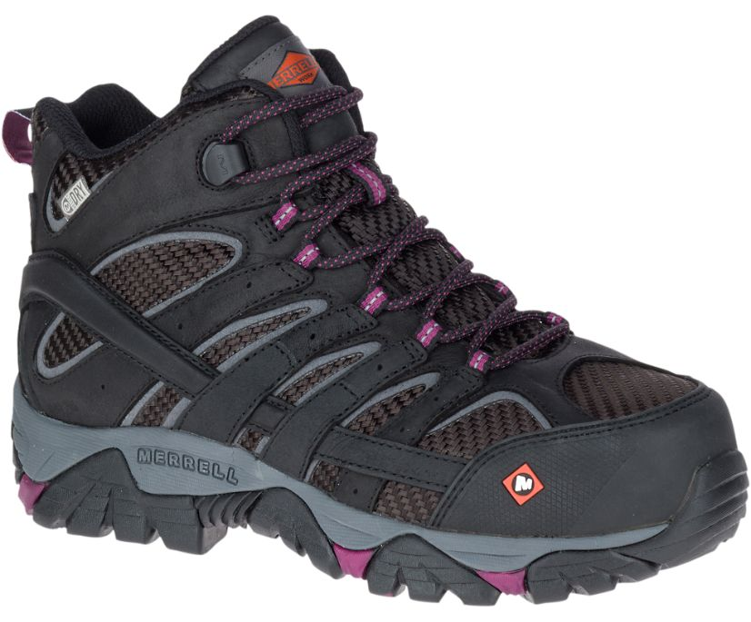Moab 2 Vent Mid Waterproof Comp Toe Work Boot, Black, dynamic