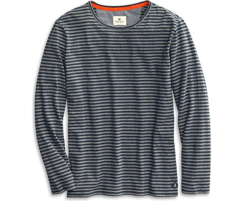 Striped Henley Shirt, Grey, dynamic