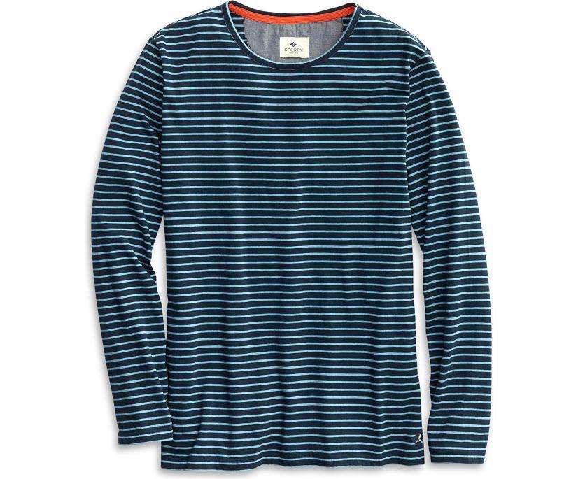 Striped Henley Shirt, Navy, dynamic