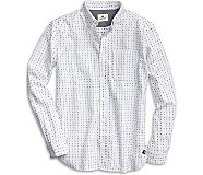 Dobby Print Button Down Shirt, White, dynamic