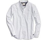 Dobby Print Button Down Shirt, White, dynamic