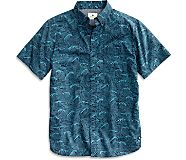 Japanese Wave Button Down Shirt, Navy/Blue, dynamic
