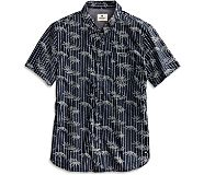 Bamboo Print Button Down Shirt, Navy, dynamic