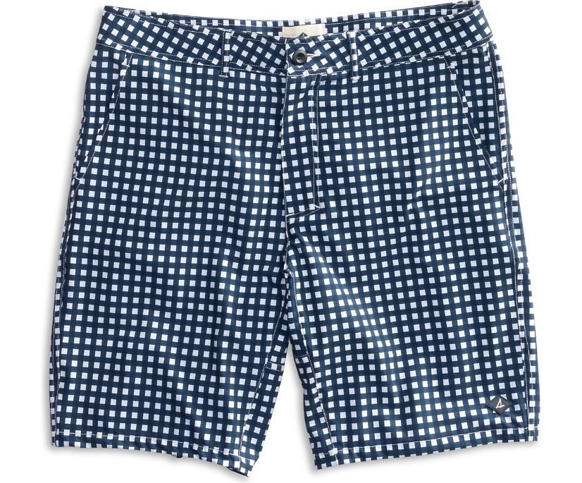 Gingham Print Walk Short, Navy/White, dynamic
