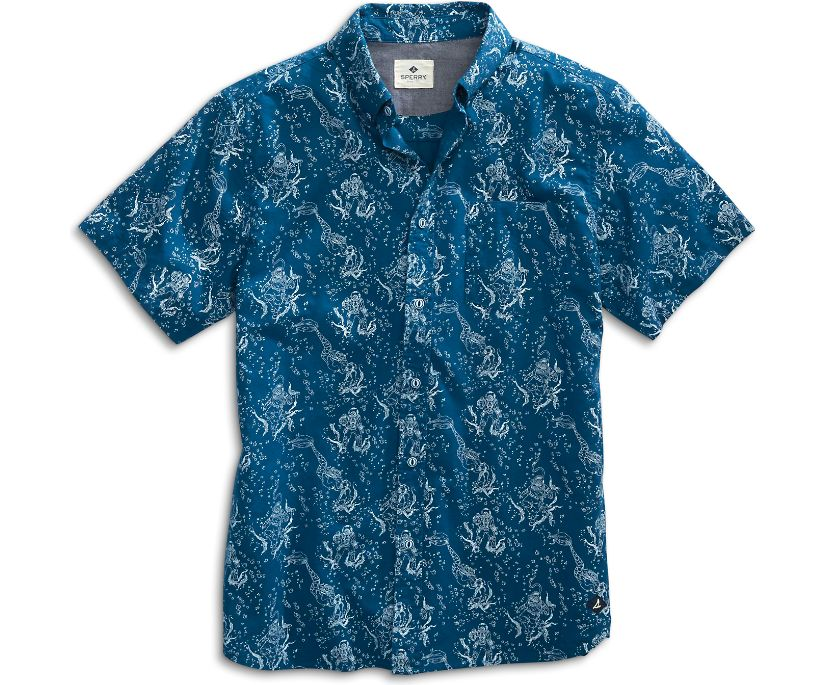 Diver Print Button-Down Shirt, Multi, dynamic