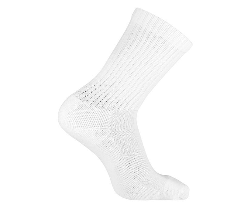 3-Pk Cotton Crew Sock, White, dynamic