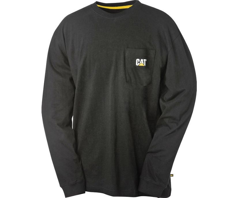 Trademark Pocket Long Sleeve Tee, Black, dynamic