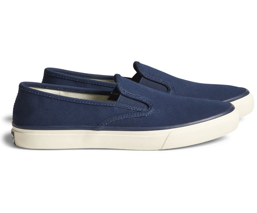 Unisex Cloud Slip On Deck Sneaker, Navy, dynamic