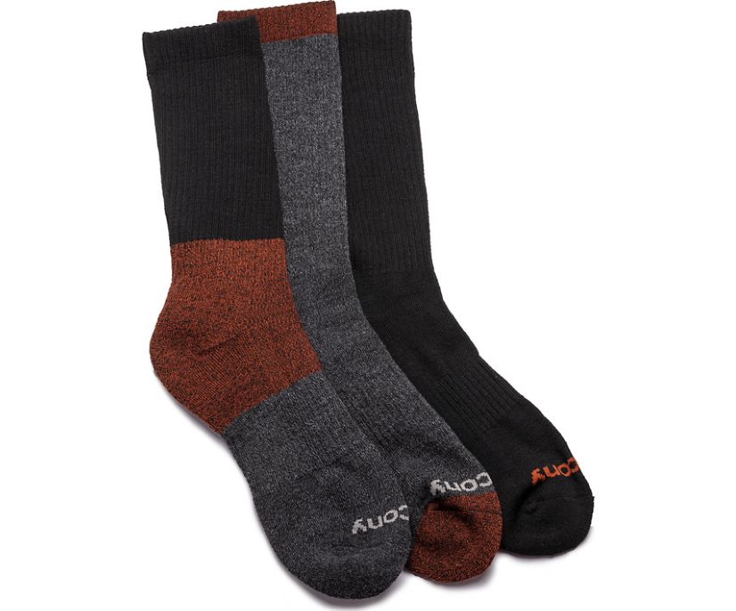Heritage Crew 3 Pack Socks, Red Assorted, dynamic