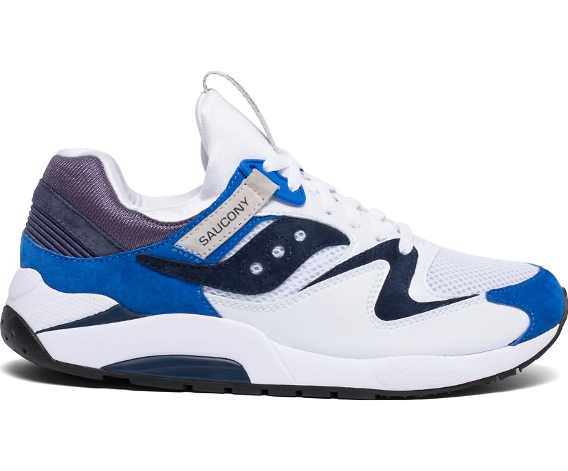 Grid 9000 Premium Suede, White | Blue, dynamic