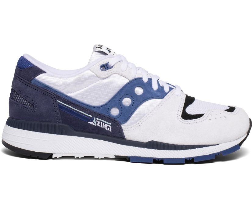 Azura Premium Leather, White | Navy | Blue, dynamic