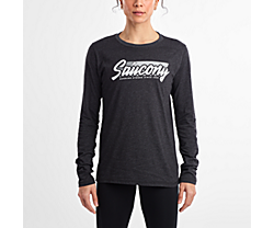 Long Sleeve Logo Tee, Dark Grey Heather, dynamic