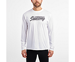 Long Sleeve Logo Tee, White, dynamic