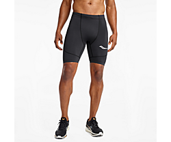 Saucony Elite Tight Short, Black | Red, dynamic