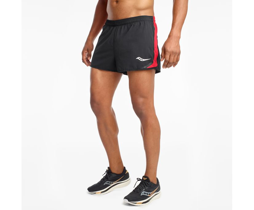 Saucony Elite Split Short, Black   Red, dynamic