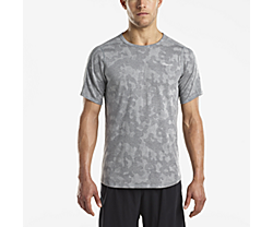 Negative-Split Jacquard Short Sleeve, Dark Grey Heather, dynamic