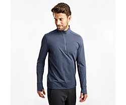 Challenge Quarter Zip, Mood Indigo Heather, dynamic