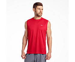 Stopwatch Sleeveless, Saucony Red, dynamic
