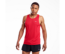 Stopwatch Singlet, Saucony Red, dynamic