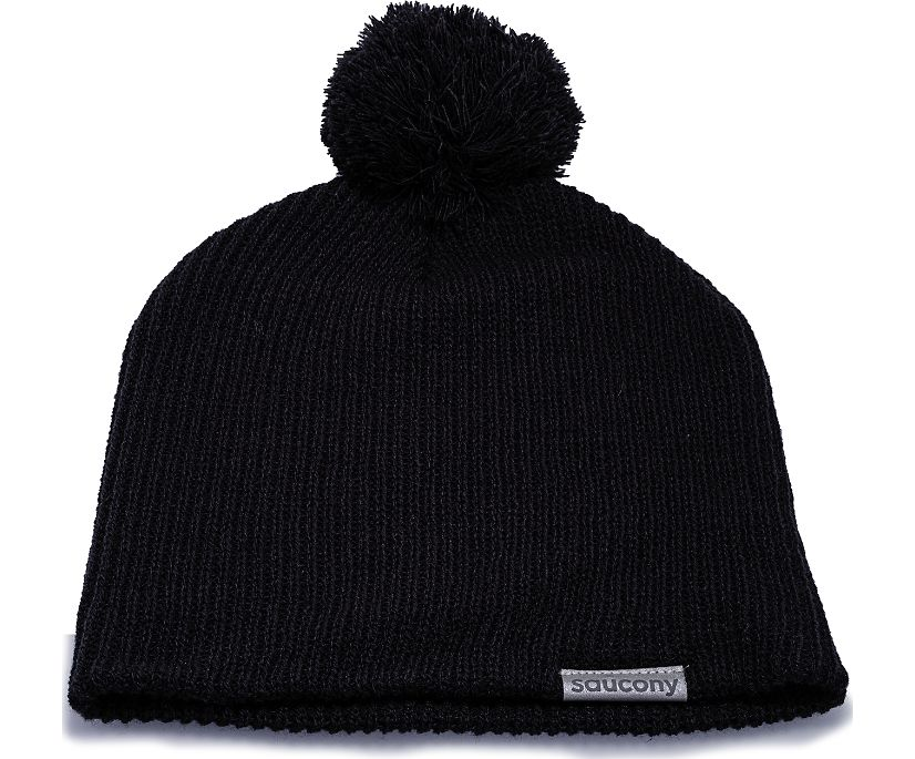 Pom Pom Knit Beanie, Black, dynamic
